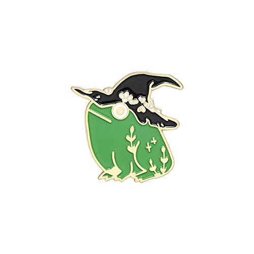 Magic hat small flowers needle Green cute cartoon frog Brooch clothes lapel backpack pin badge jewelry gifts for friends