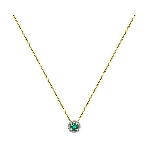 Collier aus 14K (585) Gelbgold mit Smaragd 0,250 ct und Diamanten 0,046 ct (45)