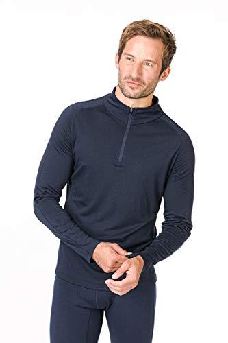 Super.natural Tee-shirt Manches Longues pour Hommes, Laine mérinos, M BASE 1/4 ZIP 175, Taille: M, Couleur: Bleu foncé