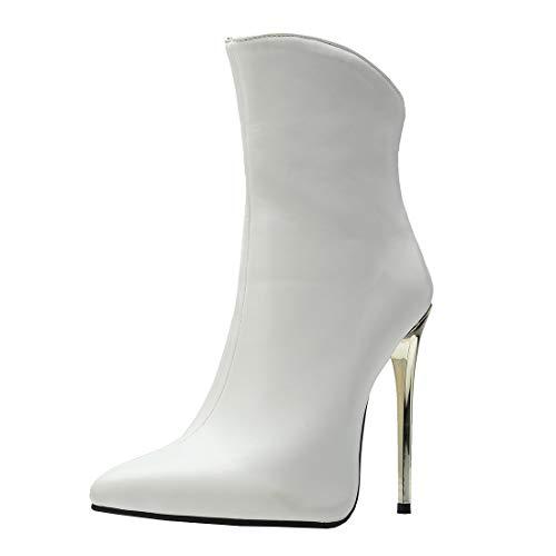 MISSUIT Damen Spitze High Heels Stiefeletten Stiletto Ankle Boots Reißverschluss Hinten 12cm Absatz(Weiß,38)