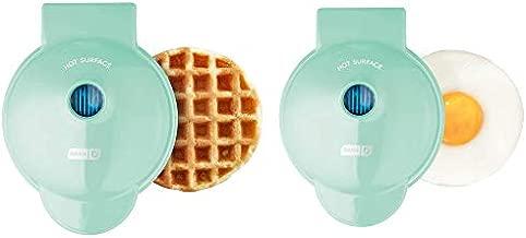 Dash DMSW002AQ Mini Maker, 2-Pack Griddle + Waffle Iron, 2 pack, Aqua