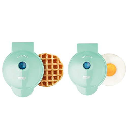 Dash Mini Maker Waffle Maker + Griddle, 2-Pack Griddle + Waffle Iron - Aqua