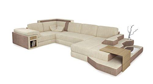 Bullhoff by Giovanni Capellini Ecksofa Wohnlandschaft XXL Sofa Stoff Couch Creme/sandbeige U-Form Designsofa mit LED-Licht Beleuchtung Bergamo