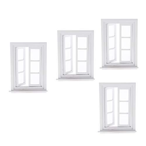 SM SunniMix 4pcs Miniatur Weiße Holz Fenster Fensterrahmen Möbel Für 1/12 Puppenhaus Dekoration