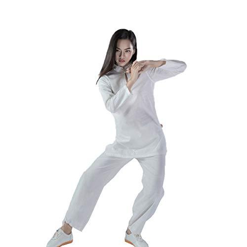 KSUA Tuta Tai Chi Cinese Abbigliamento Kung Fu Cotone Wing Chun Uniforme Yoga Suit Zen Meditation Arti Marziali, Bianco EU XS/Etichetta S