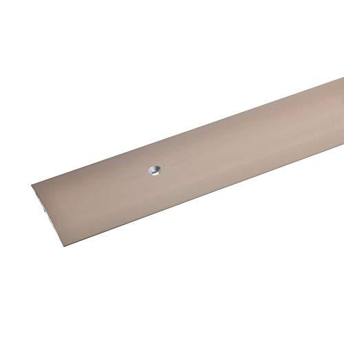 acerto 35952 Übergangsprofil aus Aluminium, mittig gebohrt, 100 cm - bronze hell * 4x50 mm * Robust * Kratzfest | Übergangsleiste für Teppich, Laminat & Parkett | Alu Übergangsschiene