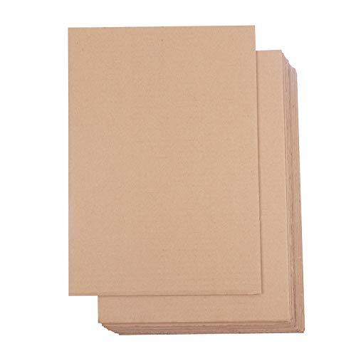 Hojas de Cartón Corrugado (Pack de 24) - A4 Marrón Plancha de Carton Plano (3mm de Grosor) - Hojas de Cartón para Embalaje, Envios, Manualidades
