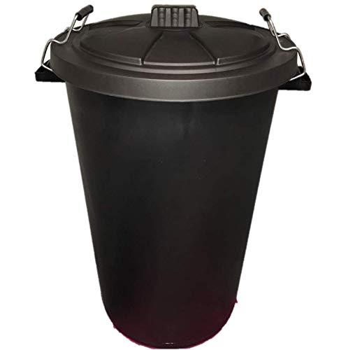 DUSTBIN LARGE BLACK GARDEN 90L REFUSAL HEAVY DUTY PLASTIC WASTE BIN WITH CLIP LID