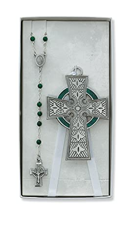 Celtic Crib Cross and Rosary Set Boxed