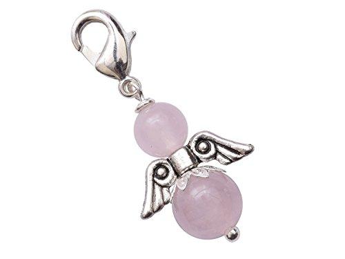 Engel Charm versilbert Edelstein-Perlen Rosenquarz Schutzengel Anhänger handgemacht