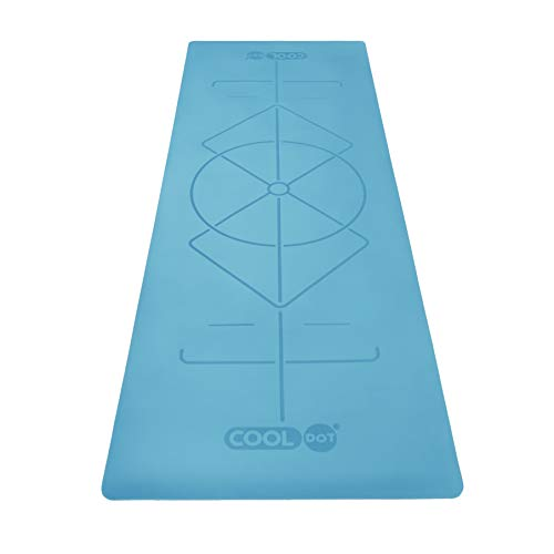 COOLDOT Esterilla Yoga Antideslizante 100% Caucho Ecológico Natural – Mat para Yoga Premium Colchoneta Pilates con Sistema Alineamiento Líneas Corporales Grabado Láser + Bolsa Transporte