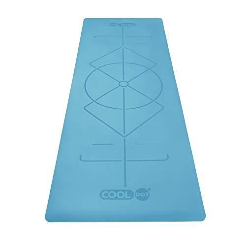 COOLDOT Esterilla Yoga Antideslizante Primera Calidad – Alfombrilla Yoga Sistema Alineamiento Goma Natural Ecológica Bolsa Transporte Sistema Marcador Alineación Grabado Láser   Azul