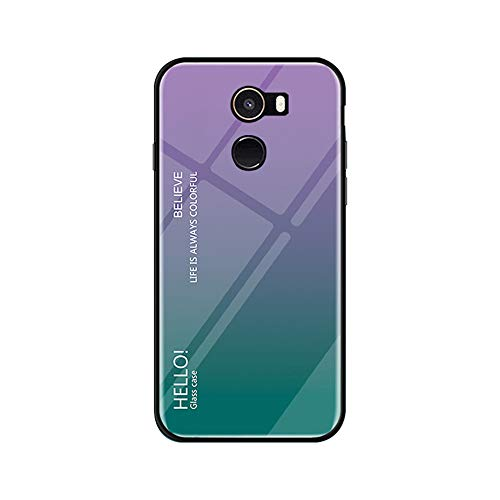 Funda Xiaomi Mi Mix 2 Vidrio Templado,Ultra Fina TPU + Cristal Templado Cubierta Trasera Carcasa Gradiente de Color es Durable para Xiaomi Mi Mix 2 (Xiaomi Mi Mix 2, Púrpura + Azul)