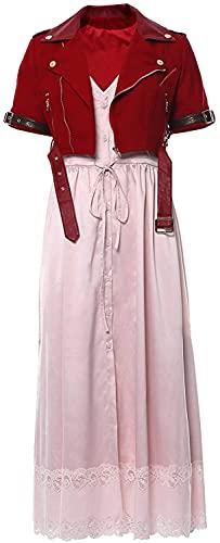 YBINGA Disfraz de fantasía para mujer, disfraz de Halloween Aerith Gainsborough, tubo rosa, con chaqueta corta, accesorios para cosplay (color rojo y rosa, tamaño: S)