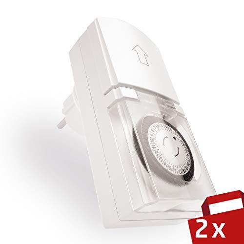 Temporizador enchufe Tempo Outdoor de 4smile, Temporizador mecánico con programa diario (24h), 48 tiempos de encendido por día, para el exterior IP 44, protección infantil, color: blanco (2 pcs)