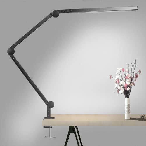Lámpara Escritorio, Wellwerks 9W Flexo LED Escritorio Abrazadera Brazo Luz Regulable con 6 Modos de Color + 6 Niveles de Brillo,Lampara de mesa para Estudio Lectura