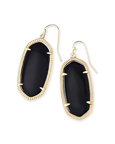 Kendra Scott Elle Drop Earrings for Women, Fashion Jewelry, 14k Gold Plated, Black Opaque Glass