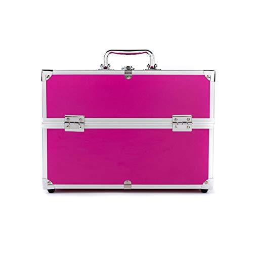 JIANGU 3-lagige große Make-up-Box, Nagellack-Schmuck, Make-up-Koffer, Make-up-Box, extra großer Platz, Rosered, Large 100.00watts