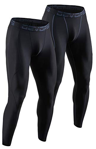 DEVOPS 2 Pack Men's Compression Pants Athletic Leggings (2X-Large, Black/Black)