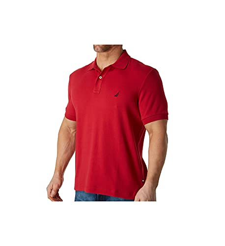 Nautica - Polo de Manga Corta para Hombre (algodón Suave) - Corte Regular , Rojo náutico, Medium