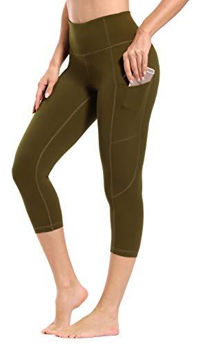 Akilex Yoga-Hose mit Taschen, hohe Taille, Sport, Gymnastik, Leggings, Damen, Fitness, Workout, Athfreizeit-Strumpfhose, Power-Stretch-Hose, Olivgrün 3/4, xl
