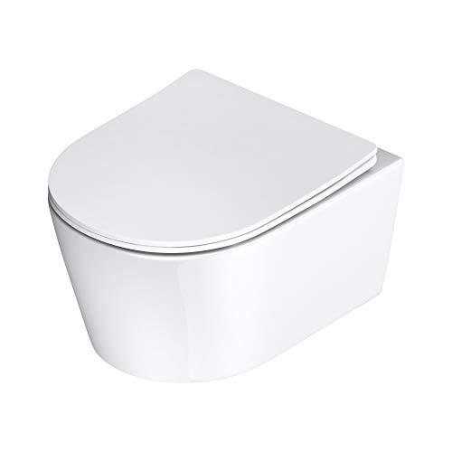 WC suspendu céramique blanc toilette abattant silencieux avec frein de chute Aix306