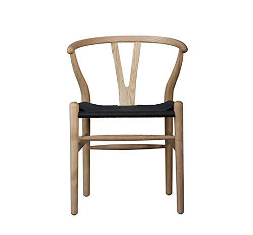 Wishbone - Sedie da pranzo Hans Wegner riproduzione naturale/Ash e sedile nero
