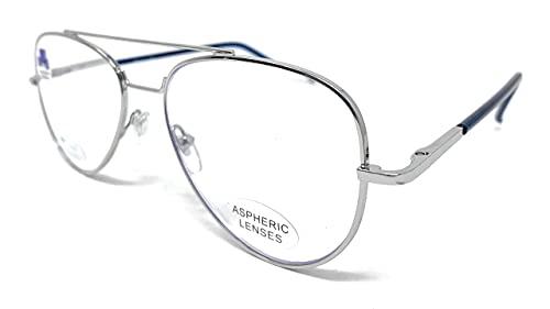 New Model Gafas de lectura con filtro bloqueo luz azul para gaming, ordenador, móvil. ULTIMA MODA Anti fatiga PILOTO unisex venice (Silver Blue, +2,50)
