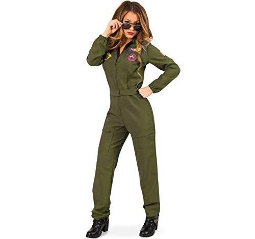 Kostüm Kampfpilotin Gr. 40 Jumpsuit grün Fasching Uniform Pilotin Militär