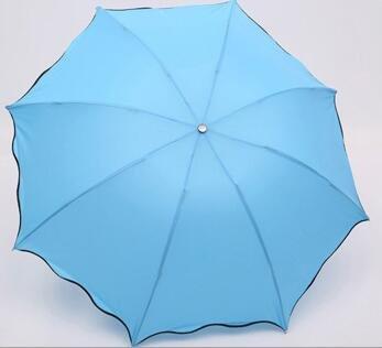 TC Turquoise Couleur Pliant Coupe-Vent Anti UV Effacer/Pluie coréenne Dentelle Princesse Parasol Parapluie Tub-004