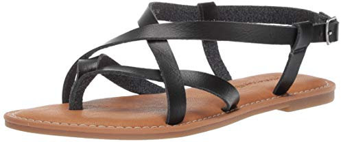 Amazon Essentials Women's Casual Strappy Sandal, Black, 11 B US