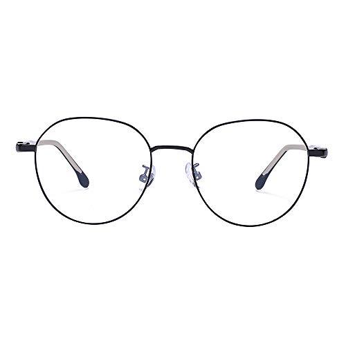 2020 VentiVenti Blue Light Blocking Round Lightweight Metal Frame Glasses for Women Men Eyeglasses Anti Blue Ray Computer Game Glasses Matte Black