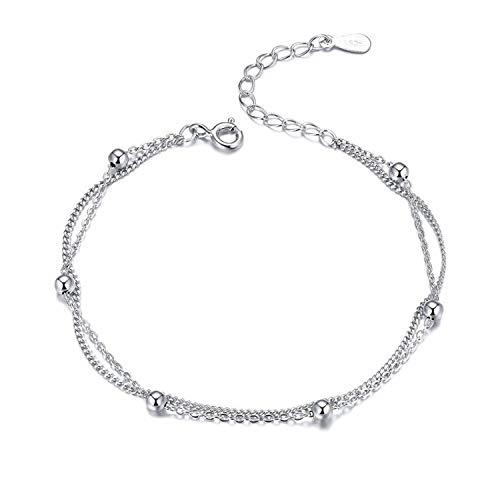 Sunwd Cuentas Pulsera,Brazalete 925 Silver Chain Bracelet Women Round Beads Double Layers Link Chain Bracelets Female Sterling Silver Jewelry New SCB131