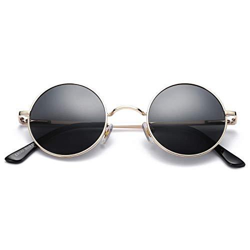 KISS Gafas de sol Hippie mod. TEASHADES - Ligero Metal VINTAGE hombre mujer CULT John Lennon - GOLD/Negro