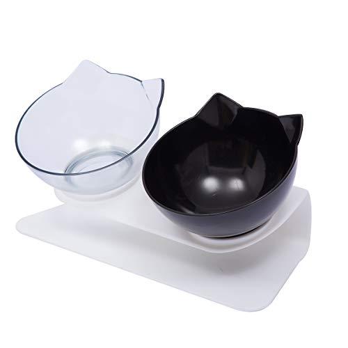 Carolilly - Ciotola per gatti rialzata e inclinata a 15°, per anti-vomito, ciotola per gatti o cani