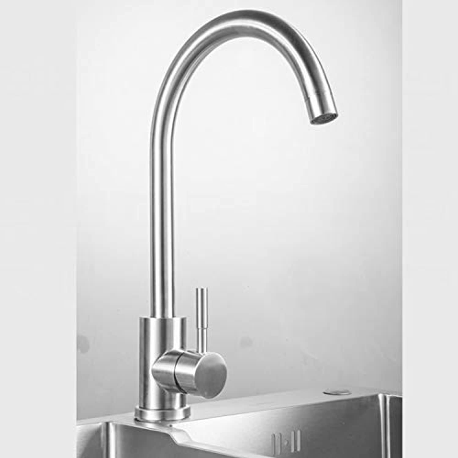 Kitchen Faucet Hot and Cold Brushed Sink Faucet Can Be redated 304 Stainless Steel