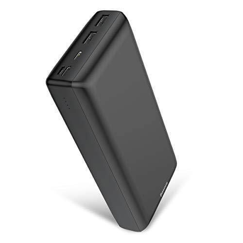 Carregador portátil de carregamento rápido Baseus 30.000 mAh, carregador portátil com 3 velocidades de recarga, 3 portas de saída para iPhone 11 Pro Max, iPad, Mac, Samsung Galaxy, laptops USB-C e mais (preto)