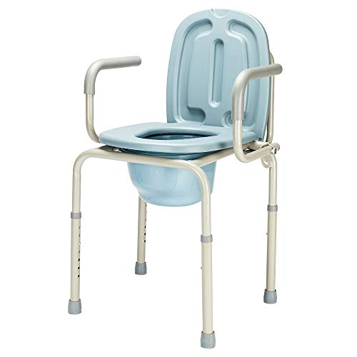 OMECAL 450lbs Drop Arm Medical Bedside Commode Chair, Homecare Toilet Seat with Safety Steel Frame, 8 Quart Capacity Pail, Adjustable Height Support Tool-Free Assembly -  mefeir, mfcommodedroparm