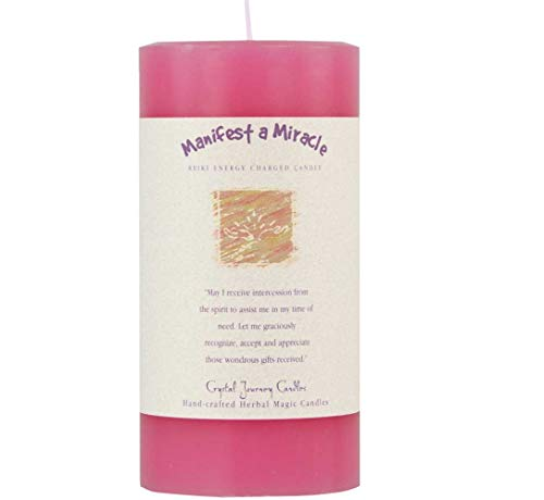 6' X 3' Crystal Journey Herbal Magic Reiki Charged Pillar Candle - Manifest a Miracle