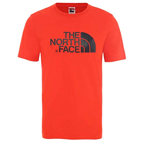 The North Face M S/S Easy T-Shirt, Uomo, Fiery Red/TNF Black, XL
