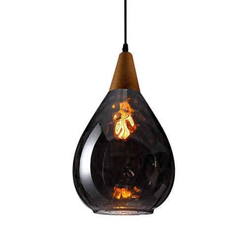 Mini lustres modernes de loft, éclairage suspendu vintage industriel avec abat-jour en verre soufflé à la main, lampe suspendue de plafond de cuisine réglable-l-ambre 1 lumière