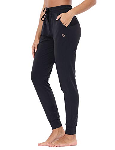 BALEAF Women's Lightweight Cotton Joggers Sweatpants Casual Lounge Pants Fitted Yoga Workout Pocketed Pants Black M