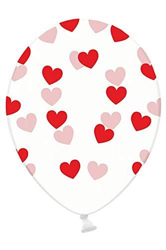 Ballonnen - Doorzichtig - Rode hartjes - 30cm - 6st.