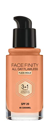 Max Factor Facefinity All Day Flawless 3 in 1 Foundation in Caramel 85 – Primer, Concealer & Foundation in einem – Für ein perfekt mattiertes Finish – 1 x 30 ml