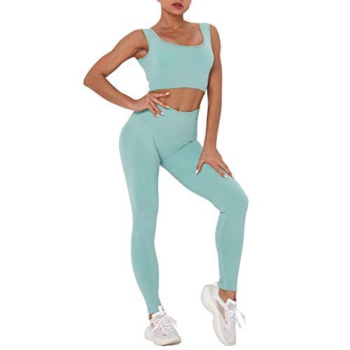 BOTRE Tenue de Sport Femmes 2 Pièces Ensembles Sportswear Soutien-Gorge et Pantalon Costumes de Sport Yoga Gym Fitness Course Jogging Survêtements (Bleu, L)