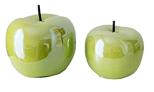 Glas Art Deko Apfel Set Aus Keramik Dekoapfel In Größen 2 Moderne Keramik Wohnzimmer Figur Obst Skulpuren In 2er...