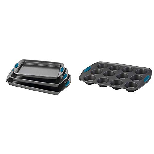 Rachael Ray Bakeware Nonstick Cookie Pan Set, 3-Piece, Gray with Marine Blue Grips & Ray Yum -o! Nonstick Bakeware 12-Cup Muffin Tin With Grips / Nonstick 12-Cup Cupcake Tin With Grips - 12 Cup, Gray