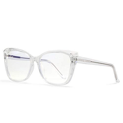 Gafas De Sol Gafas De Montura De Ojo De Gato para Mujer Gafas De Bloqueo De Luz Azul Claro Marco Óptico De Computadora Transparente Uv400 Vintage Eyeglasses-C2_Transparent