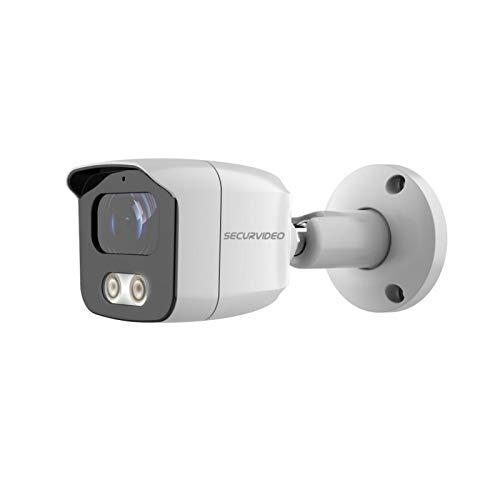 Securvideo Cámara Bullet 2 Mp/5 MP AHD 3,6 mm híbrida 4 en 1 Osd/Utc Ir 25 m IP67