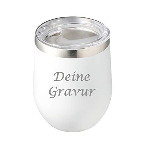 Schmalz Edelstahl Isolierbecher Reflects-Sudbury mit Gravur graviert personalisiert -Thermobecher-Coffee to go-Mobil genießen-Trinkbecher (weiß)